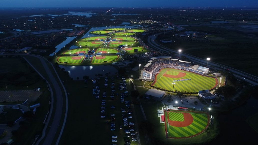 Softball Arenas Aerial View at Night